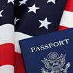 Bandera americana y pasaporte